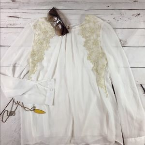 Adorable white sheer blouse with lace overlay
